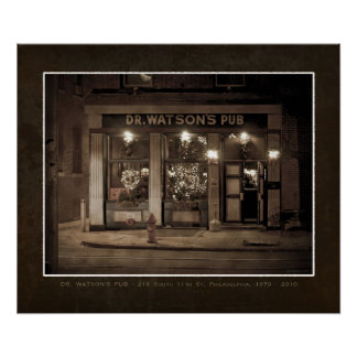 Dr. Watsons Pub, Philadelphia FAUX VINTAGE POSTER
