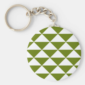 Drab Green and White Triangles Keychain