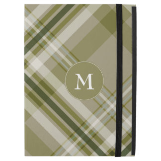 """drab olive and beige plaid with monogram iPad pro 12.9"""" case"""