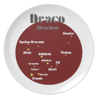 draco dark red melamine plate