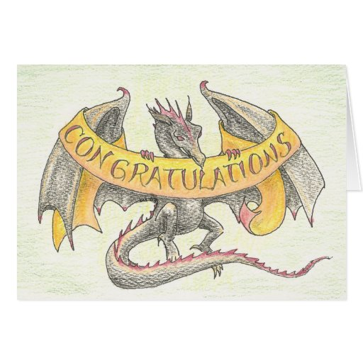 """Draconic Congrats"" Note and Greeting Cards"