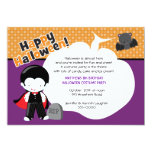 Dracula and Bat Halloween Birthday 5x7 Paper Invitation Card