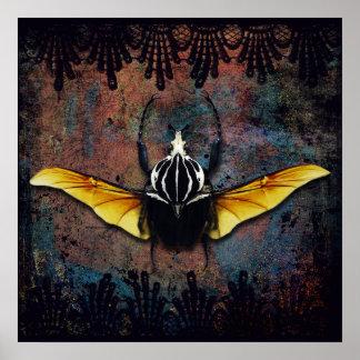 Dracula Beetle print winged beetle and black lace