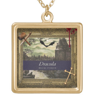 dracula book cover gold-plated necklace