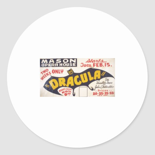 Dracula by Hamilton Deane - 1938 Classic Round Sticker