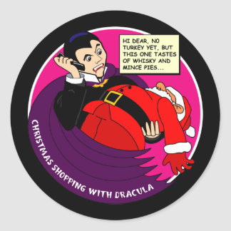 Dracula Christmas Shopping Classic Round Sticker