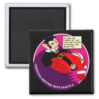 Dracula Christmas Shopping Fridge Magnets