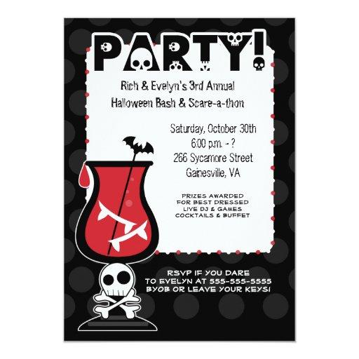 Dracula Cocktail Halloween Party 5x7 Invitation