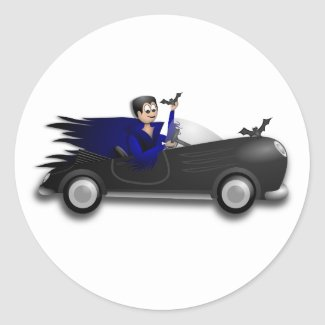 Dracula Driving a Convertible Classic Round Sticker