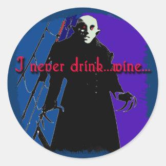 Dracula I Never Drink ... Wine Classic Round Sticker