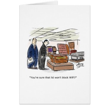 Halloween Themed Dracula looking at coffins card