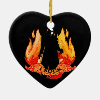 Dracula Nosferatu I SUCK with Flames Double-Sided Heart Ceramic Christmas Ornament
