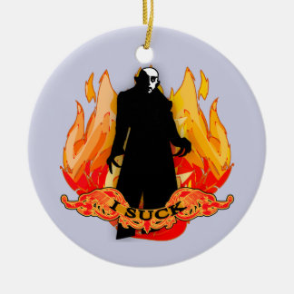 Dracula Nosferatu I SUCK with Flames Double-Sided Ceramic Round Christmas Ornament