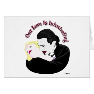 Drácula, nuestro amor está intoxicando tarjeta de felicitación