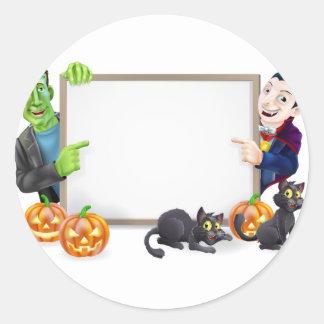 Drácula y muestra de Frankenstein Halloween Pegatina Redonda