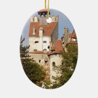 Dracula's Castle, Transylvania Double-Sided Oval Ceramic Christmas Ornament