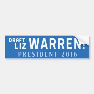 DRAFT ELIZABETH WARREN 2016 Bumper Sticker