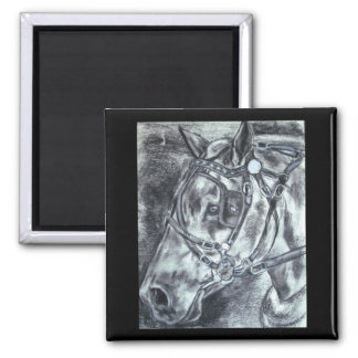Draft horse charcoal drawing magnet