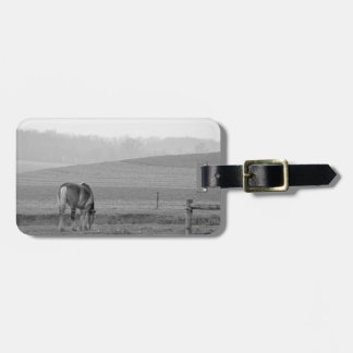 Draft Horse in Black and White Bag Tag