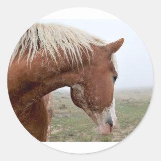 Draft Horse in the Mist - Stunning Western Classic Round Sticker