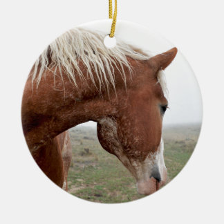 Draft Horse in the Mist - Stunning Western Christmas Ornaments