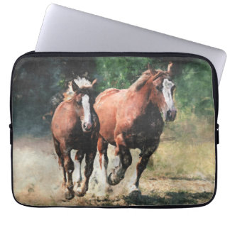 Draft horse mare and foal computer sleeve