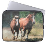Draft horse mare and foal laptop sleeve