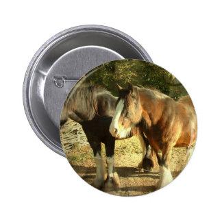 Draft Horse Pair Button