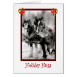 Draft Horse Team, Holiday Hugs Greeting Card
