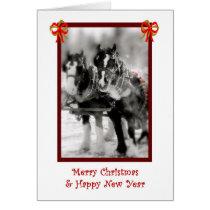 Draft Horse Team, Merry Christmas, Happy New Year Card
