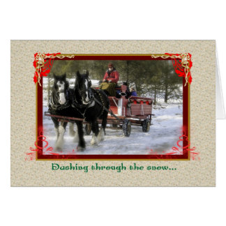 Draft-Horse Winter Sleigh Ride, Christmas Card