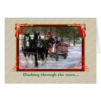 Draft-Horse Winter Sleigh Ride, Christmas Card