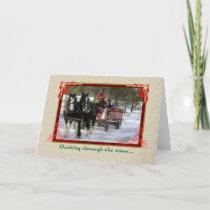 Draft-Horse Winter Sleigh Ride, Christmas Holiday Card