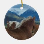 Draft Horses Ceramic Ornament