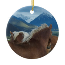 Draft Horses Ceramic Ornament