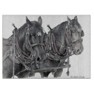 Draft Horses cutting board