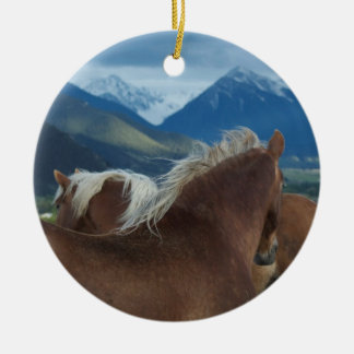 Draft Horses Double-Sided Ceramic Round Christmas Ornament