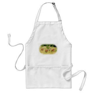Draft horses in field adult apron