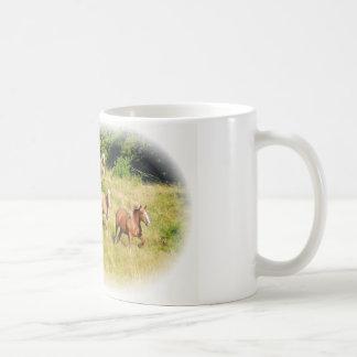 Draft horses in field coffee mug
