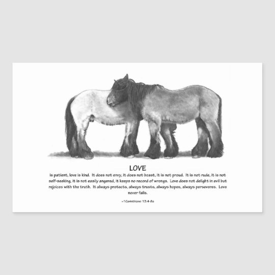 Draft Horses in Pencil: Bible Verses About LOVE Rectangular Sticker