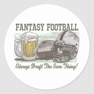 Draft the Sure Thing Fantasy Football Gear Classic Round Sticker