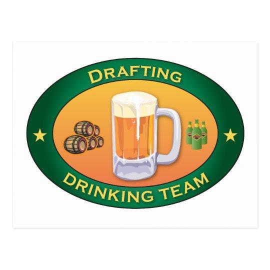 Drafting Drinking Team Postcard