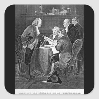 Drafting the Declaration of Independen_War Image Square Sticker