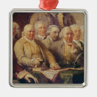 Drafting the Declaration of Independence Square Metal Christmas Ornament