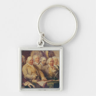 Drafting the Declaration of Independence Silver-Colored Square Keychain