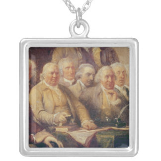 Drafting the Declaration of Independence Square Pendant Necklace