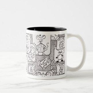 Drafts of inked mice Two-Tone coffee mug