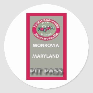 Drag A Way Pit Pass Classic Round Sticker