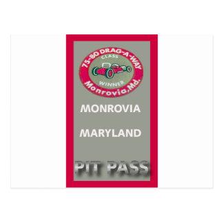 Drag A Way Pit Pass Postcard