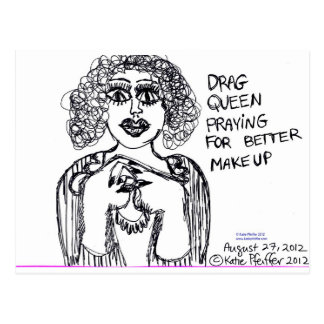 Drag Queen Looking For Better Makeup Postcard